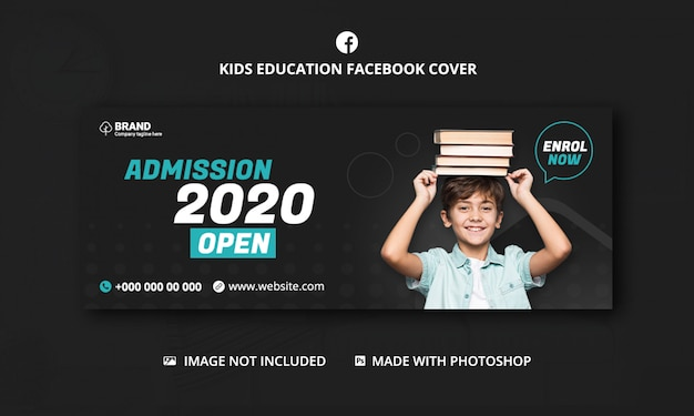 Kids school education admission facebook cover template