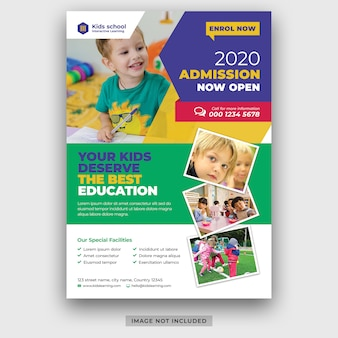 Kids school education admission flyer template psd premium psd