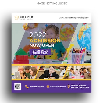 키즈 스쿨 교육 입학 소셜 미디어 배너 및 사각형 전단지 템플릿