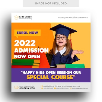Kids school education admission social media banner and square flyer template Premium Psd