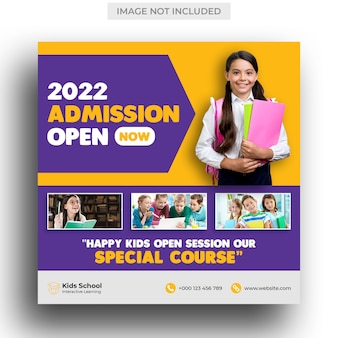 Kids school education admission social media post & instagram post template