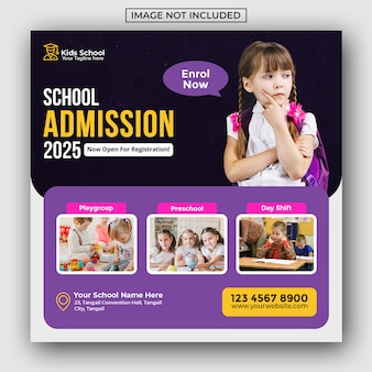 Kids school education admission social media post and web banner