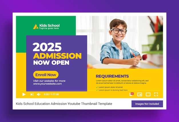 Kids school education youtube thumbnail and web banner template