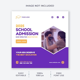 Kids school social media template