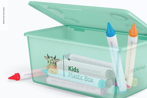 ふたのモックアップと子供の小さなプラスチックの箱、クローズアップ