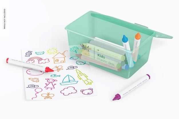 Scatola di plastica piccola per bambini con coperchio mockup, prospettiva