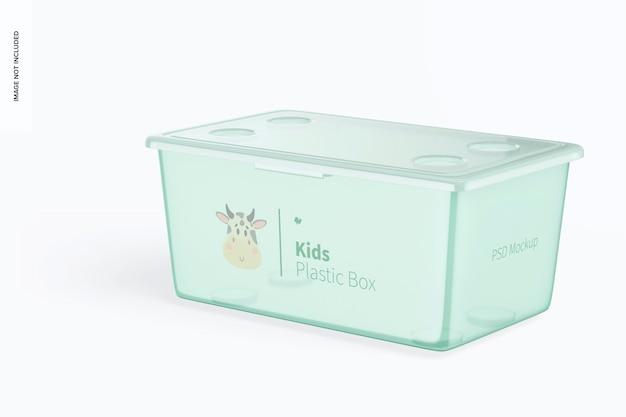 ふたのモックアップが付いている子供の小さいプラスチック箱、右の眺め