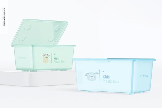 Scatoline di plastica per bambini con coperchio mockup, prospettiva