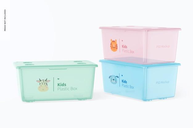 ふたのモックアップが付いている子供の小さいプラスチック箱