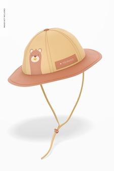 Детский мокап шляпы от солнца, падающий
