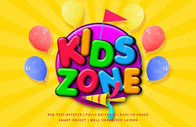 Kids zone cartoon 3d text style effect