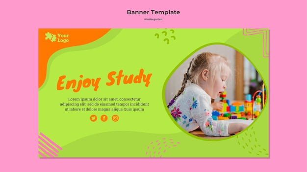 Kindergarten banner template with photo