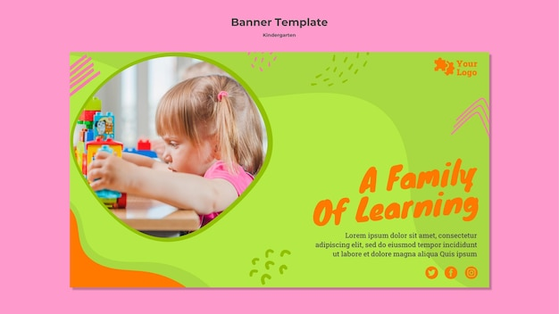 Kindergarten horizontal banner template with photo