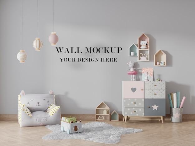 Kindergarten mockup to change the wall surface