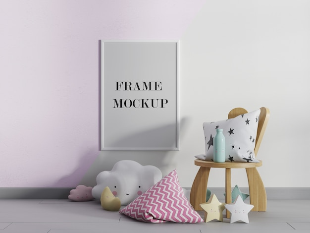 Kindergarten wall frame mockup with accessories