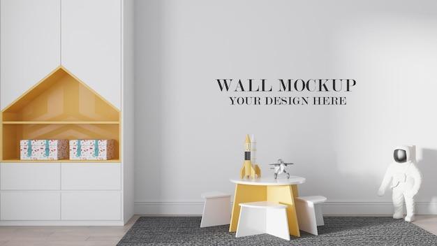 Kindergarten wall mockup in 3d rendering