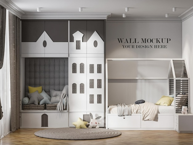 Kindergarten wall mockup with house shaped furnitur in room
