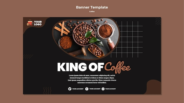 King of coffee banner template Free Psd