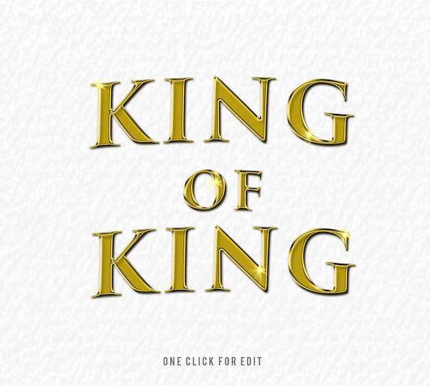 King of king 3d text font effect mockup
