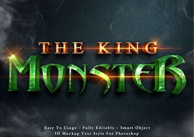 The king monster - editable 3d text style effect