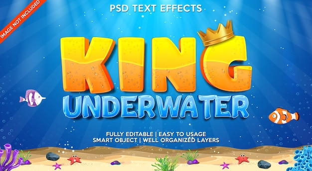 King underwater text effect template