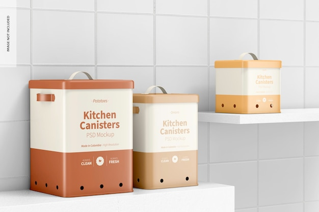 Мокап кухонных канистр