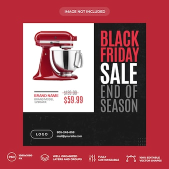 Kitchen electronics black friday social media banner template