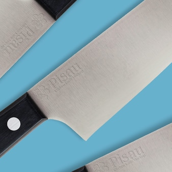 Kitchen knife mockup on iron with emboss effect