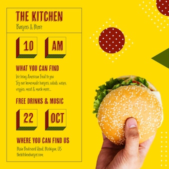 Kitchen menu opening time with burger
