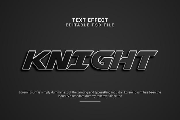 Knight 3d editable text effect