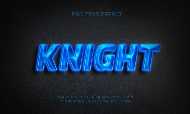 Knight neon text effect template