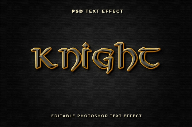 Knight text effect template with gold and black colors