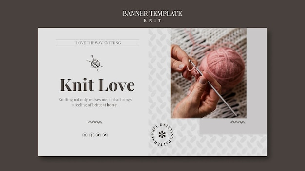 Knit concept banner template