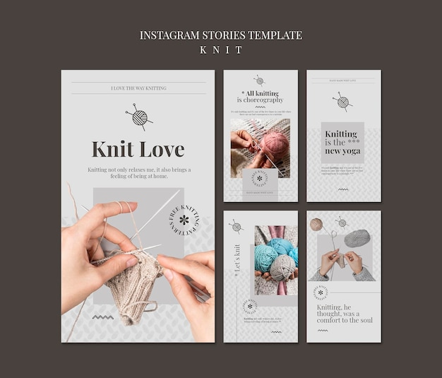 Knit concept instagram stories template