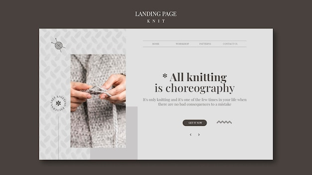 Knit concept landing page template