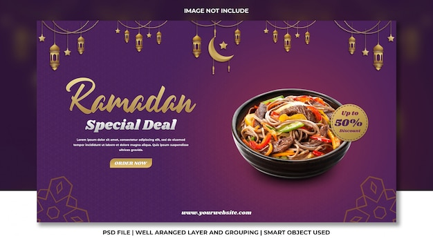 Korean noodle special ramadan pack website banner with purple background