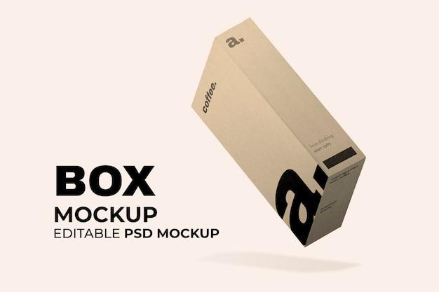 最小限のデザインの美容製品用のクラフトボックス包装モックアップpsd