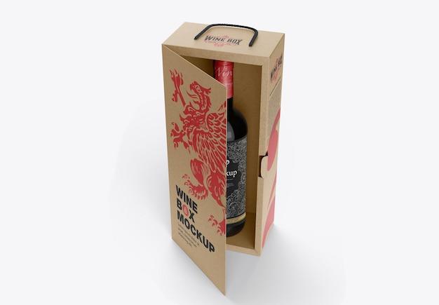Kraft box for wine bottle mockup