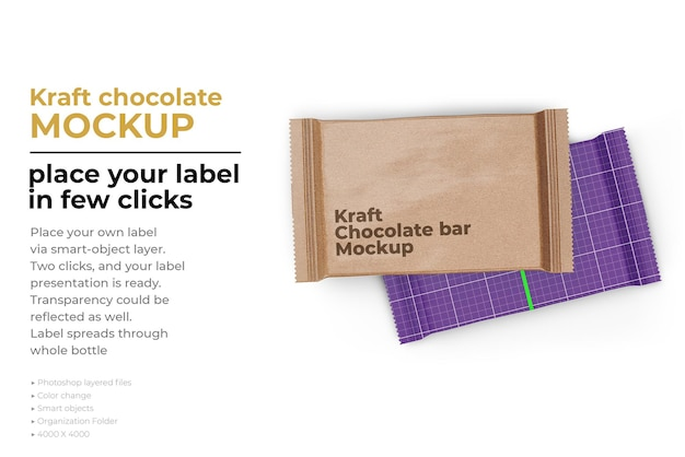 Kraft chocolate bar mockup design in 3d rendering