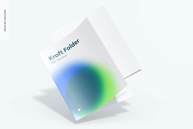 Kraft folder mockup, falling