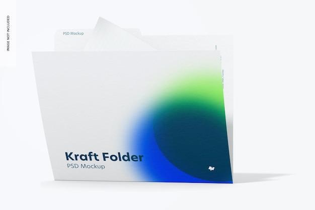 Kraft folder mockup, front view
