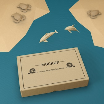 Бумажный пакет крафт и дельфины с макетом