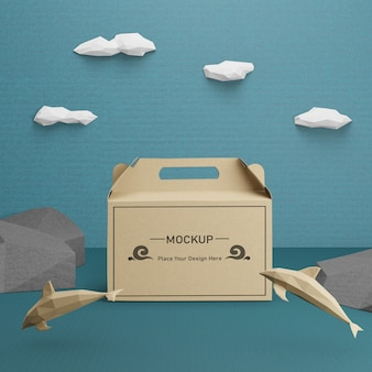 Kraft paper bag for ocean day with mock-up