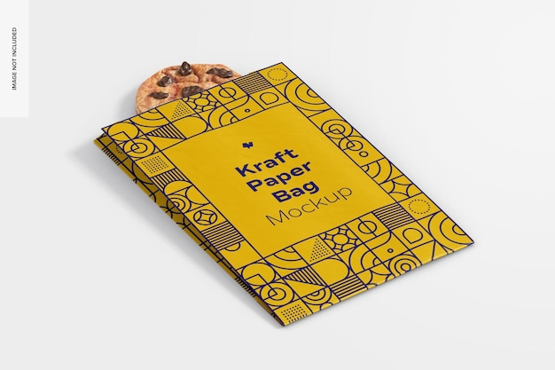 쿠키 모형이있는 크래프트 종이 봉투