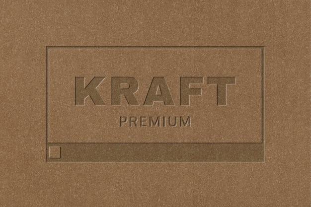 Kraft paper business logo psd template in debossed style