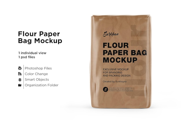 Kraft paper flour bag mockupisolated