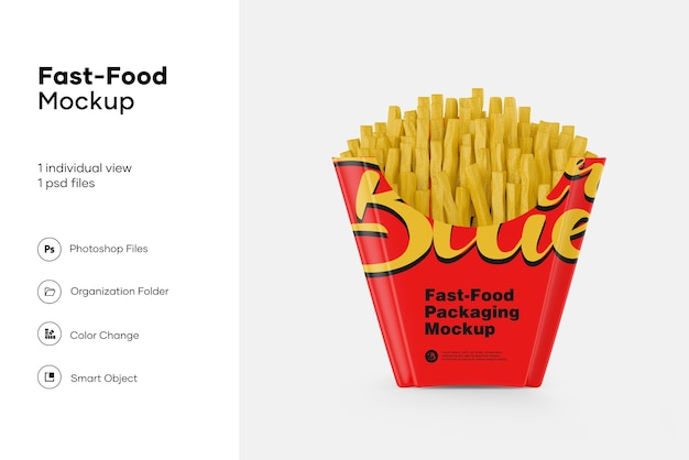 Kraft paper large size french fries packaging mockup