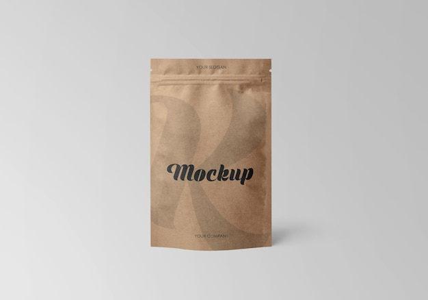 Kraft stand-up pouch with zipper mockup
