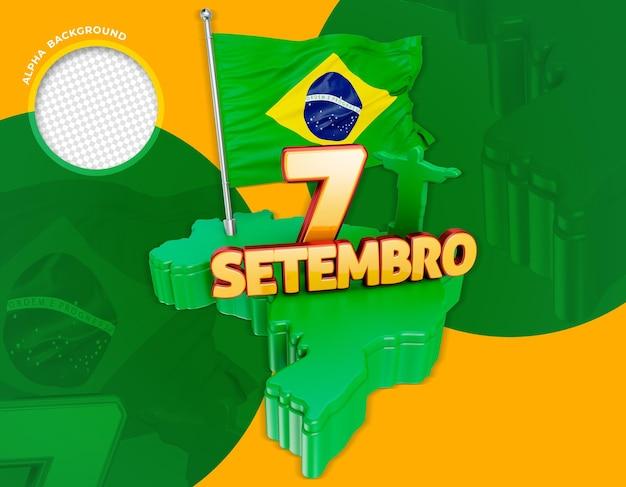 레이블 3d 브라질 독립 기념일 Do Brasil 프리미엄 PSD 파일