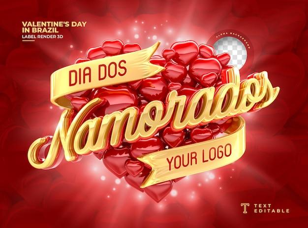 ブラジルで3dレンダリングバレンタインデーにラベルを付ける